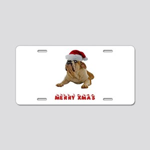 Bulldog Christmas Aluminum License Plate