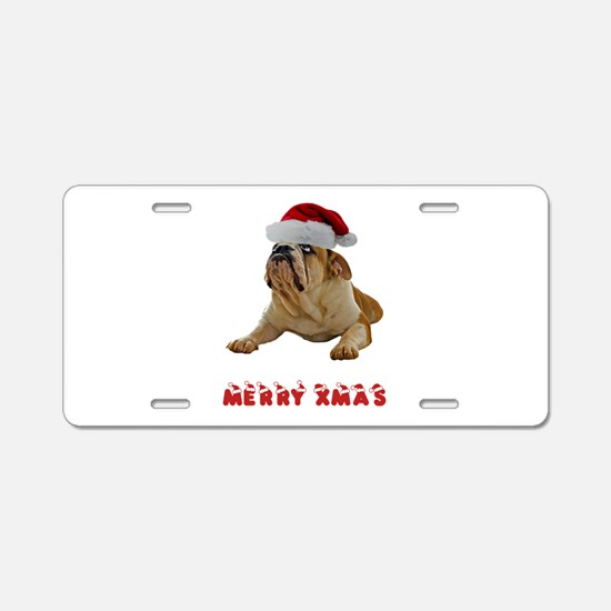 Bulldog Christmas Aluminum License Plate