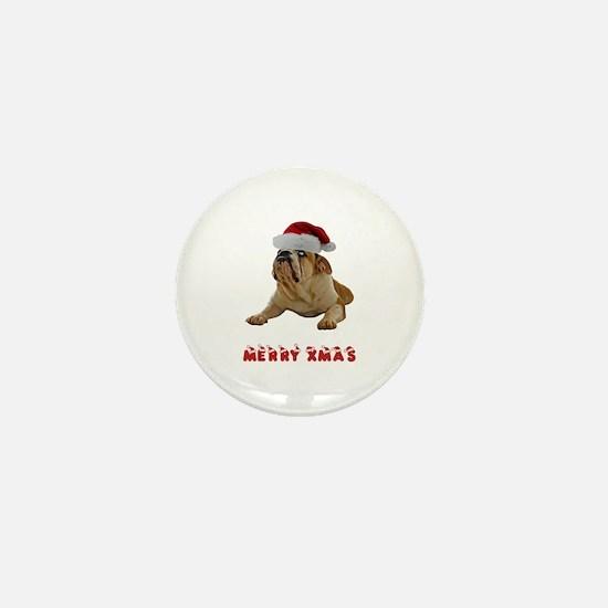 Bulldog Christmas Mini Button