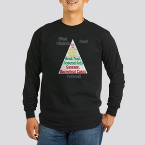 West Virginia Food Pyramid Long Sleeve Dark Tee