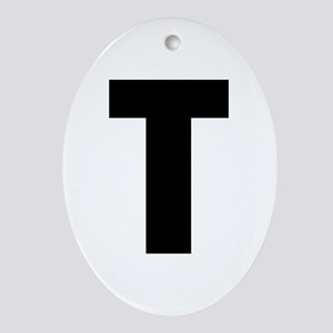 Letter T Oval Ornament