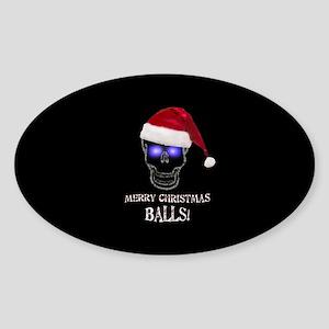 Merry Christmas Balls Sticker (Oval)