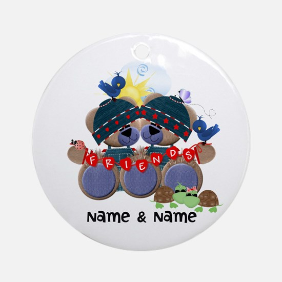 Customizable Bear Friends Ornament (Round)