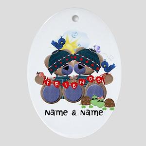 Customizable Bear Friends Ornament (Oval)