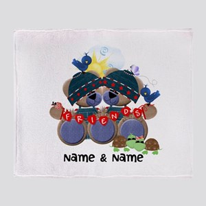Customizable Bear Friends Throw Blanket