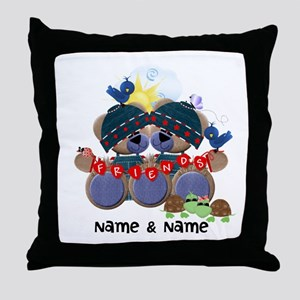 Customizable Bear Friends Throw Pillow