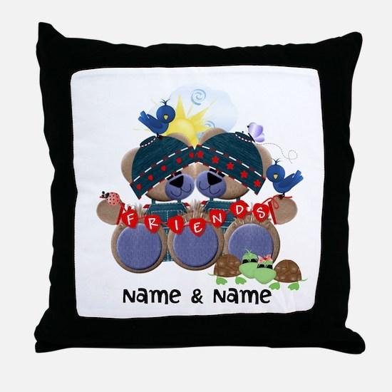 Customizable Bear Friends Throw Pillow