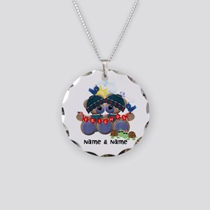 Customizable Bear Friends Necklace Circle Charm