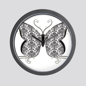 Damask Butterfly Wall Clock