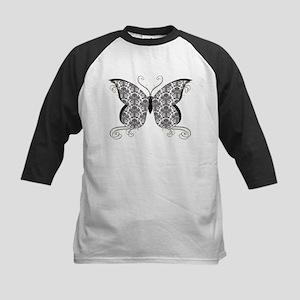 Damask Butterfly Kids Baseball Jersey