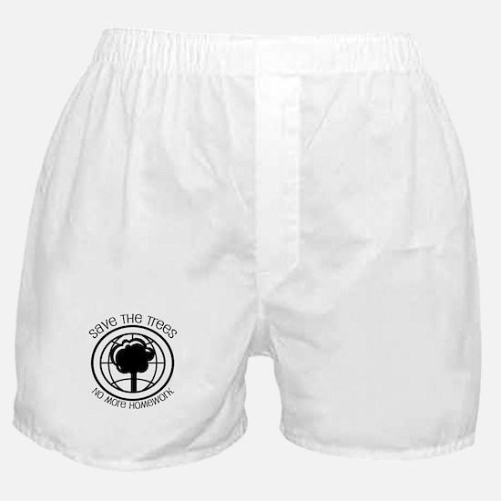 Save the Trees No More Homework Boxer Shorts