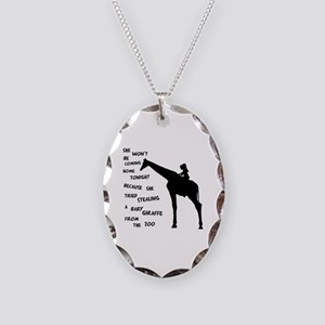 Giraffenapping Necklace Oval Charm