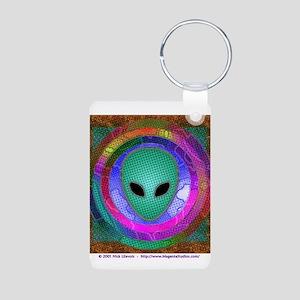 Alien Head Aluminum Photo Keychain