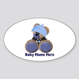 Customizable Boy Bear Sticker (Oval)