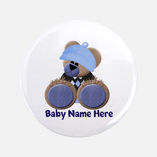 "Customizable Boy Bear 3.5"" Button"
