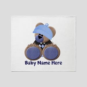 Customizable Boy Bear Throw Blanket
