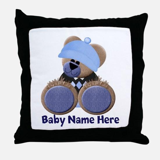 Customizable Boy Bear Throw Pillow