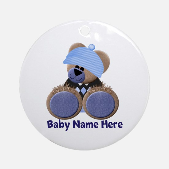 Customizable Boy Bear Ornament (Round)