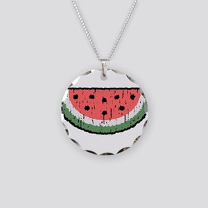 watermelon Necklace Circle Charm