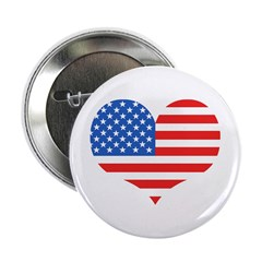 US Flag Heart Button