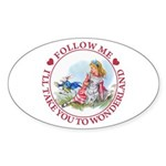 Follow Me To Wonderland Sticker (Oval 50 pk)