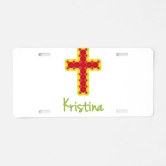 Kristina Bubble Cross Aluminum License Plate