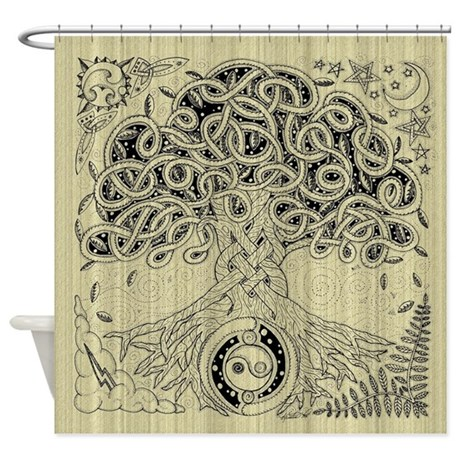 Celtic Tree Of Life Ink Shower Curtain By Artoffoxvox