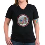 Follow Me To Wonderland Women's V-Neck Dark T-Shir