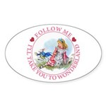 Follow Me To Wonderland Sticker (Oval 10 pk)