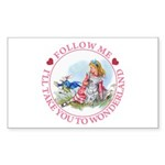 Follow Me To Wonderland Sticker (Rectangle 50 pk)