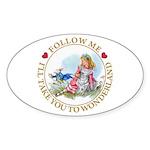 Follow Me To Wonderland Sticker (Oval 50 pk)