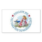 Follow Me To Wonderland Sticker (Rectangle 10 pk)