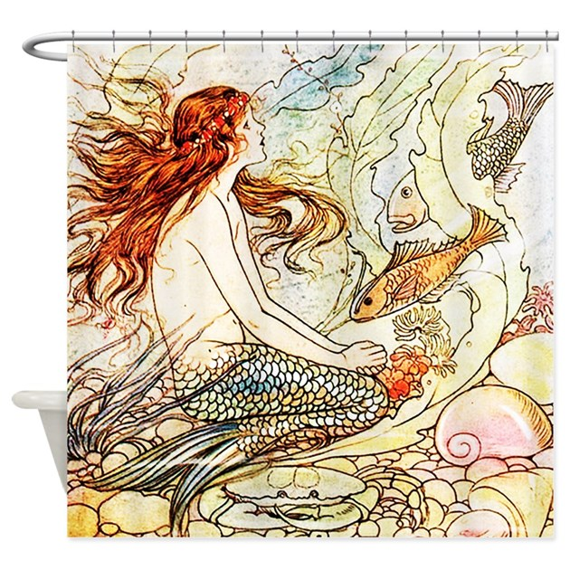 Vintage Mermaid Shower Curtain By Attitudeattic