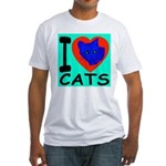 I Love Cats Blue Jade Fitted T-Shirt
