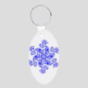 Fractal Snowflake Aluminum Oval Keychain