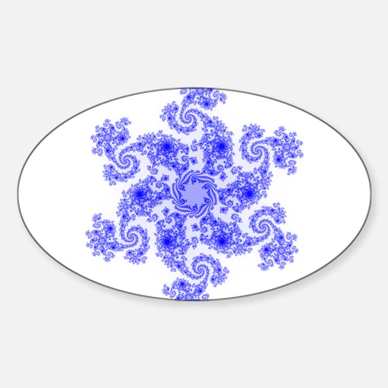 Fractal Snowflake Sticker (Oval)