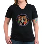 People Come and Go Women's V-Neck Dark T-Shirt