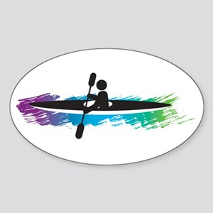 Kayak Simple Sticker (Oval)