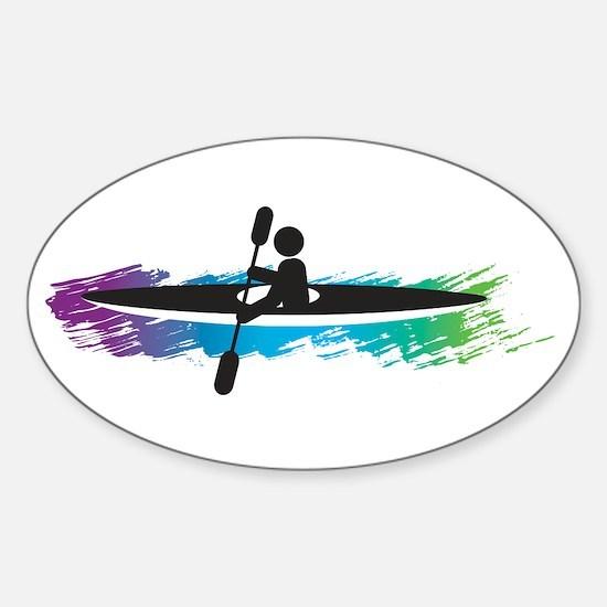 Kayak Simple Sticker (Oval)