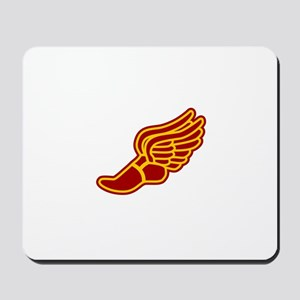 Red and gold track foot Mousepad