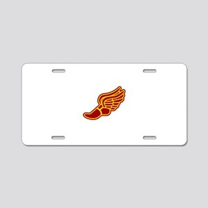 Red and gold track foot Aluminum License Plate