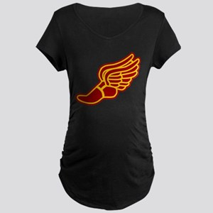 Red and gold track foot Maternity Dark T-Shirt