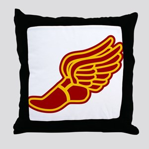 Red and gold track foot Throw Pillow