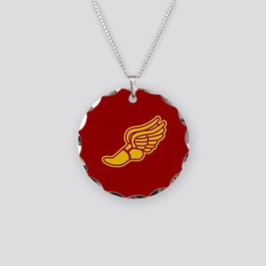 Track foot - red and gold Necklace Circle Charm