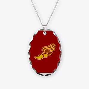 Track foot - red and gold Necklace Oval Charm