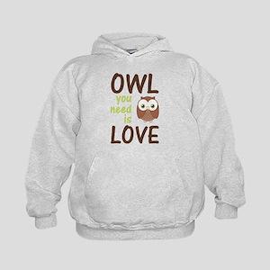 Owl You Need Is Love Kids Hoodie