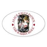 Alice Falls Down the Rabbit Hole Sticker (Oval 10