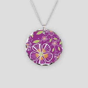 A Pink Bouquet Necklace Circle Charm