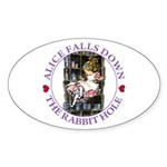 Alice Falls Down the Rabbit Hole Sticker (Oval)