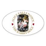 Alice Falls Down the Rabbit Hole Sticker (Oval 50